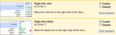 Right side labels y chat