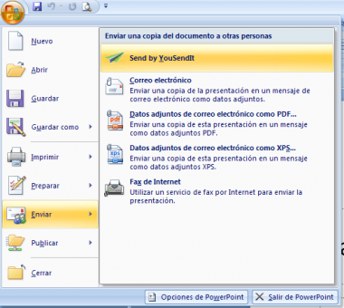 Plugin de YouSendIt para MS Office
