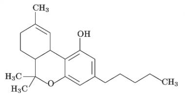Estructura del THC (Tetrahidrocannabinol)