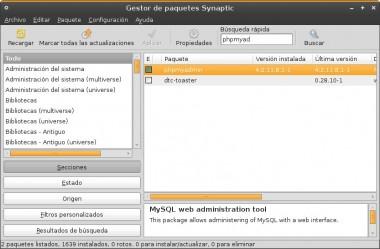 Seleccionar phpmyadmin en Synaptic y aplicar