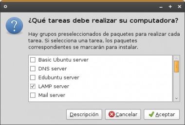 Seleccionar LAMP server y Aceptar