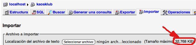 Se pueden importar 32 megas de SQL