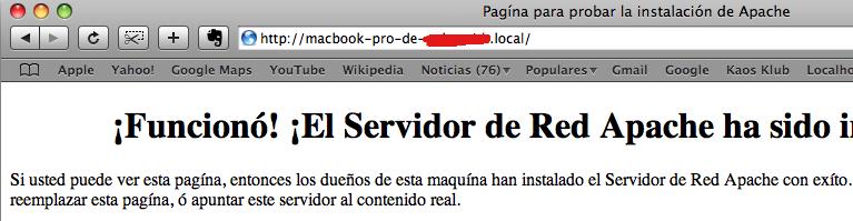 Apache instalado en local