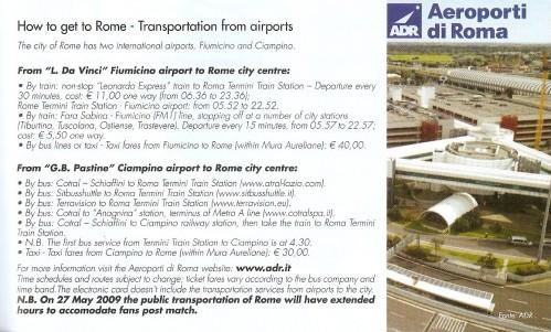 Cómo llegar a Roma desde los aeropuertos