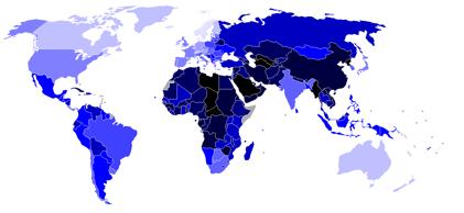 Los colores más oscuros indican un menor Índice de democracia