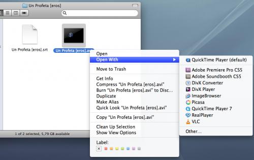Abriendo una película y su subtítulo con VLC en Mac